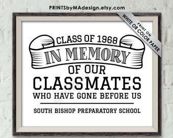 """In Memory Sign for Reunion Memorial, In Memoriam of the Classmates Who Have Gone Before Us, B&W PRINTABLE 8x10"""" Class Reunion Memory Sign"""