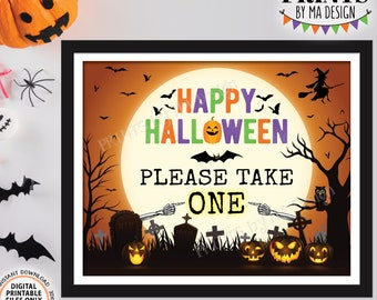 """Please Take One Candy Sign, Happy Halloween Trick-Or-Treat Sign, Moon Bats Pumpkins, PRINTABLE 8x10/16x20"""" Please Take a Treat Sign <ID>"""