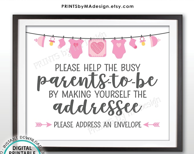 "Baby Shower Address an Envelope Sign, Help the Parents-to-Be Address an Envelope, Pink Baby Shower Decoration, PRINTABLE 8x10"" Sign <ID>"