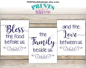 """Bless the Food Before Us The Family Beside Us the Love Between Us, Kitchen Wall Decor, Blessing, PRINTABLE 8x10/16x20"""" Navy Blue Signs <ID>"""