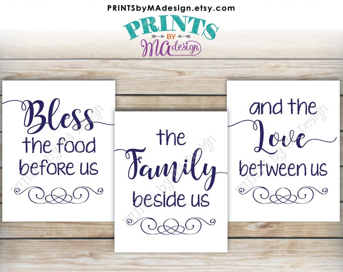 "Bless the Food Before Us The Family Beside Us the Love Between Us, Kitchen Wall Decor, Blessing, PRINTABLE 8x10/16x20"" Navy Blue Signs <ID>"