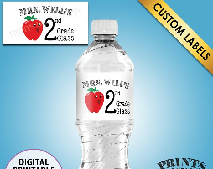 "Teacher Water Bottle Labels, Custom Teacher Labels, Class Water Bottles, Grade, 5 Labels per 8.5x11"" Sheet, PRINTABLE Water Bottle Labels"