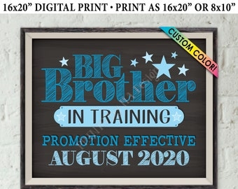"""Pregnancy Announcement Big Brother in Training, I'm Going to Be a Big Brother Promotion, PRINTABLE 8x10/16x20"""" Baby #2 Reveal Sign"""