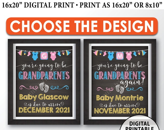 """Going to be Grandparents Pregnancy Announcement Sign, Grandparents Again, PRINTABLE 8x10/16x20"""" Chalkboard Style Sign"""