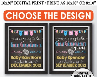 """Going to be Great Grandparents Pregnancy Announcement Sign, Great Grandparents Again, PRINTABLE 8x10/16x20"""" Chalkboard Style Sign"""