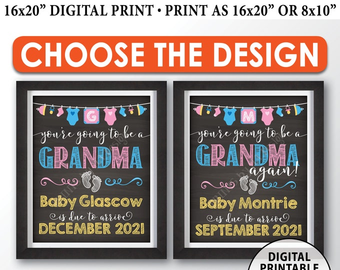 "You're Going to be a Grandma Pregnancy Announcement Sign, Grandma Again, PRINTABLE 8x10/16x20"" Chalkboard Style Grandma Reveal Sign"