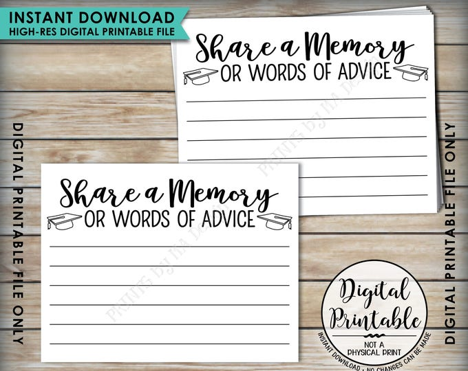 "Share a Memory or Words of Advice Graduation Advice, Write a Memory or Advice Card, Graduation Party, 8.5x11"" Printable Instant Download"
