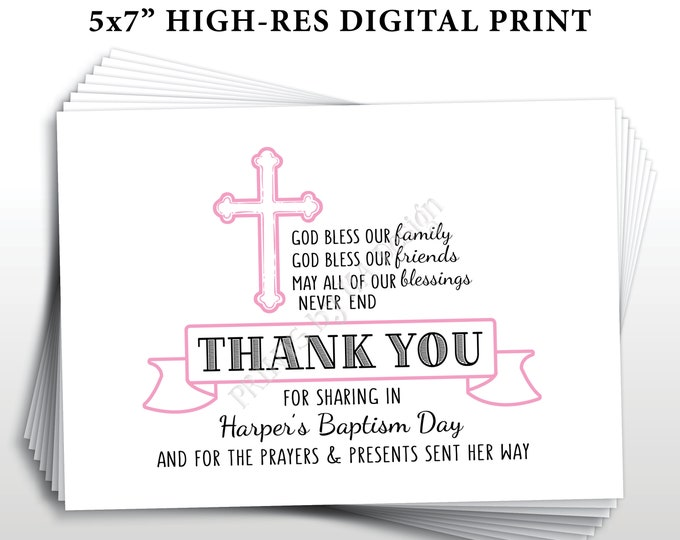 "Baptism Thank You Card, Girl Baptism Custom Thank You, Christening Thank You, Pink, Printable 5x7"" Baptism Thank You Card for a Girl"