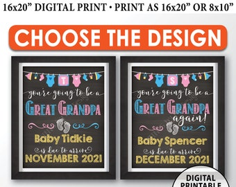 """You're Going to be a Great Grandpa Pregnancy Announcement Sign, Great Grandpa Again, PRINTABLE 8x10/16x20"""" Chalkboard Style Sign"""
