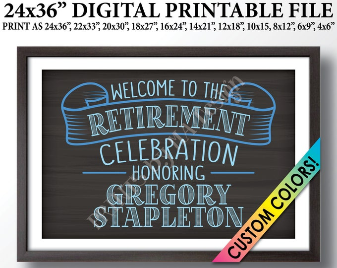 """Retirement Party Sign Welcome to the Retirement Celebration, Retirement Decor, Retire Welcome Sign, PRINTABLE 24x36"""" Chalkboard Style Sign"""