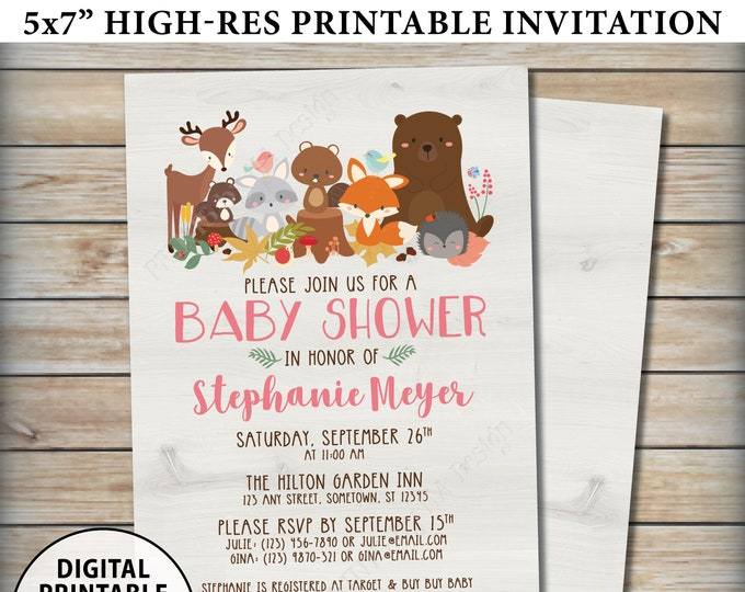 "Woodland Baby Shower Invitation, Baby Animals, Forest Friends, Fox Deer Bear Beaver, It's a Girl, Pink, Custom Digital PRINTABLE 5x7"" Invite"