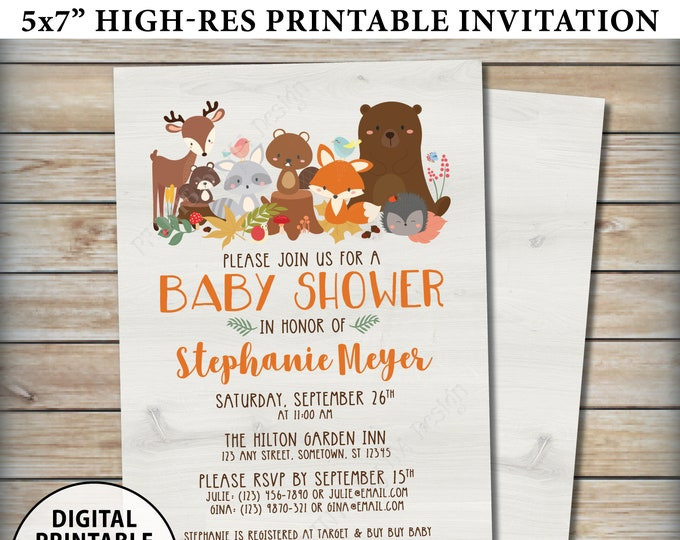 "Woodland Baby Shower Invitation, Baby Animals, Forest Friends, Fox Deer Bear Beaver, Gender Neutral, Custom Digital PRINTABLE 5x7"" Invite"