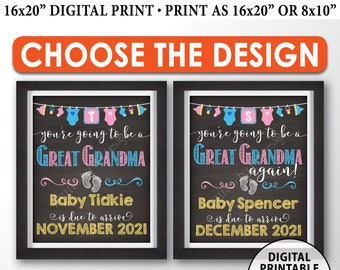 """You're Going to be a Great Grandma Pregnancy Announcement Sign, Great Grandma Again, PRINTABLE 8x10/16x20"""" Chalkboard Style Sign"""