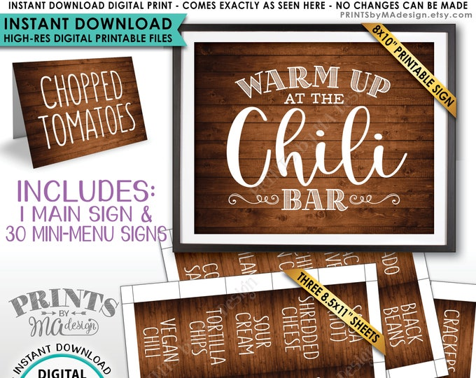Chili Bar Sign and Labels, Chili Buffet, Build Your Own Bowl of Chili Station, Rustic Wood Style PRINTABLE Instant Download Sign & Labels