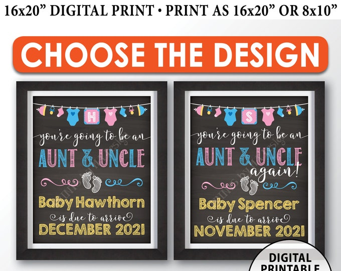 "Going to be an Aunt and Uncle Pregnancy Announcement Sign, Aunt and Uncle Again, PRINTABLE 8x10/16x20"" Chalkboard Style Sign"