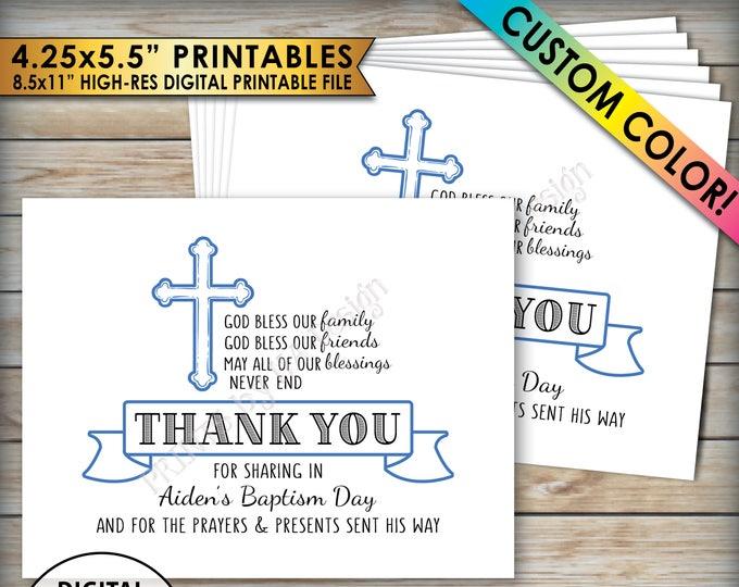 """Baptism Thank You Card, Boy Baptism Custom Thank You, Christening Thank You, Custom Color, Four 4.25x5.5"""" cards on 8.5x11"""" printable file"""