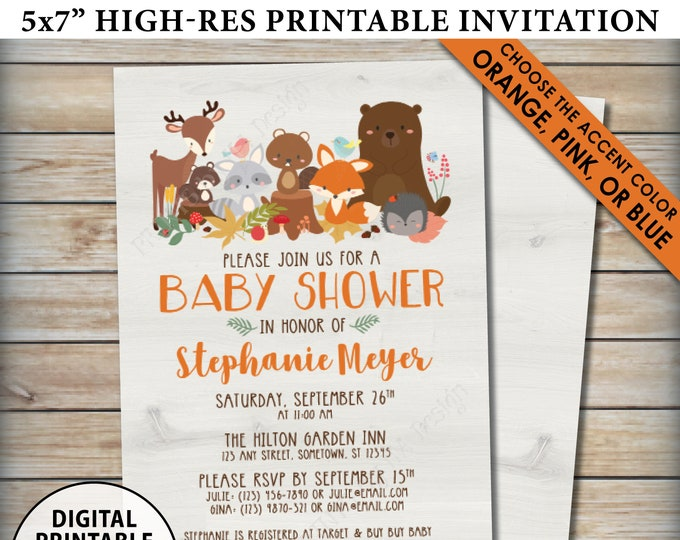 "Woodland Baby Shower Invitation, Baby Animals Invite, Forest Friends, Fox Deer Bear Beaver, Choose Color, Custom PRINTABLE 5x7"" Digital File"
