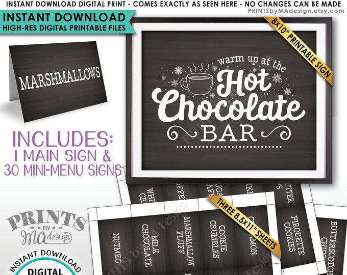 Hot Chocolate Bar Kit, Build Your Own Hot Cocoa Ingredients Labels, Winter, Fall, Instant Download Chalkboard Style PRINTABLE Sign & Labels