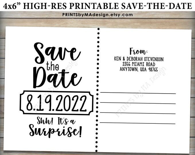 """Save the Date Postcard for a Surprise Birthday Party, Custom PRINTABLE 4x6"""" Save the Date Postcard Back Side"""
