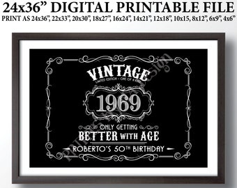 """Vintage Birthday Sign, Aged to Perfection Party Decor, Better with Age Liquor Themed Birthday, Custom Black & White PRINTABLE 24x36"""" File"""