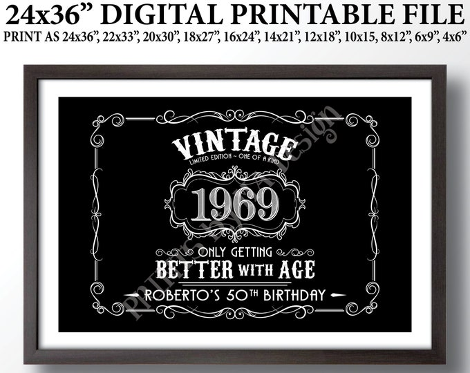 "Vintage Birthday Sign, Aged to Perfection Party Decor, Better with Age Liquor Themed Birthday, Custom Black & White PRINTABLE 24x36"" File"