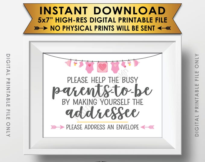 "Baby Shower Address an Envelope Sign, Help the Parents-to-Be Address an Envelope, Pink Baby Shower Decoration, PRINTABLE 5x7"" Sign <ID>"