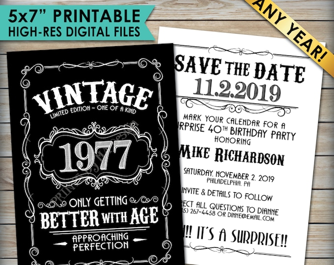 "Vintage Birthday Save the Date Invitation, Aged to Perfection Birthday, Better with Age, Whiskey Party, 5x7"" Black & White PRINTABLE Files"