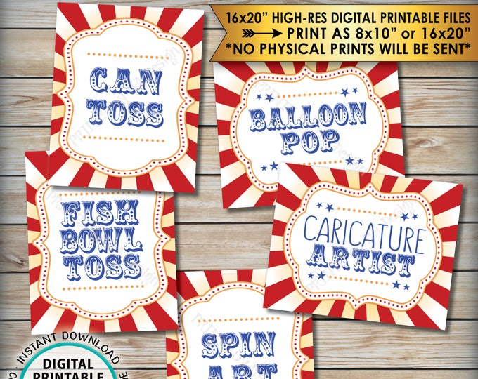 "Carnival Games Signs, Carnival Theme Party, Can Toss Fish Bowl Balloon Pop Spin Art, Circus Theme PRINTABLE 8x10/16x20"" Game Signs <ID>"