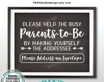 """Baby Shower Address Envelope Sign, Help Parents-to-Be Address an Envelope, Baby Shower Decor, PRINTABLE 8x10"""" Chalkboard Style Sign <ID>"""
