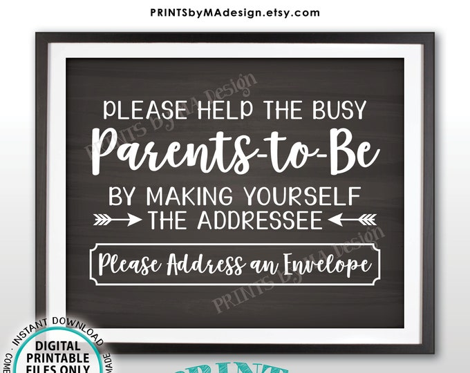 "Baby Shower Address Envelope Sign, Help Parents-to-Be Address an Envelope, Baby Shower Decor, PRINTABLE 8x10"" Chalkboard Style Sign <ID>"