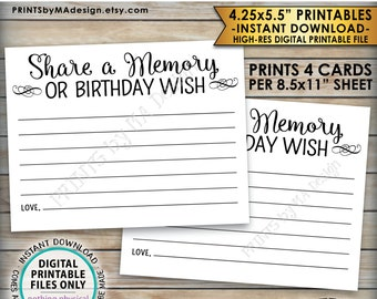 """Share a Memory Card, Share Memories or a Birthday Wish, Write a Memory Bday Activity, Four 4.25x5.5"""" Cards per 8.5x11"""" PRINTABLE Sheet <ID>"""