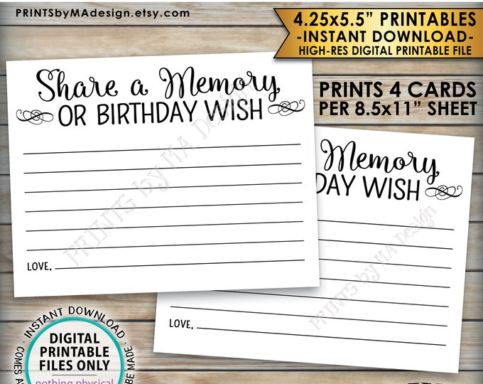"Share a Memory Card, Share Memories or a Birthday Wish, Write a Memory Bday Activity, Four 4.25x5.5"" Cards per 8.5x11"" PRINTABLE Sheet <ID>"