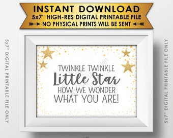"""Twinkle Twinkle Little Star Baby Shower Decor Gray & Gold Glitter, How We Wonder What You Are Gender Reveal PRINTABLE 5x7"""" Stars Sign <ID>"""
