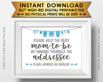 """Baby Shower Address an Envelope Sign, Help the Mom-to-Be Address an Envelope Addressee, Blue Baby Shower Decor Boy, PRINTABLE 5x7"""" Sign <ID>"""