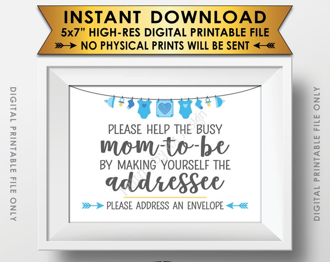 "Baby Shower Address an Envelope Sign, Help the Mom-to-Be Address an Envelope Addressee, Blue Baby Shower Decor Boy, PRINTABLE 5x7"" Sign <ID>"