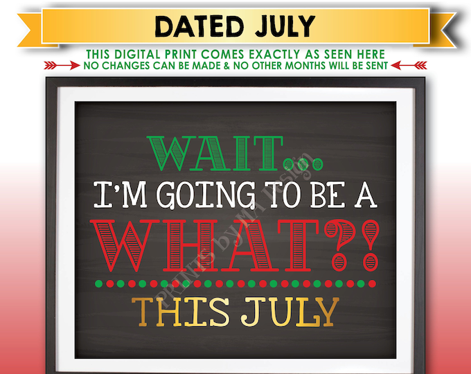 Christmas Pregnancy Announcement, Wait I'm Going to be a WHAT? Big Brother or Sister, Due in JULY Dated Printable Baby #2 Reveal Sign <ID>