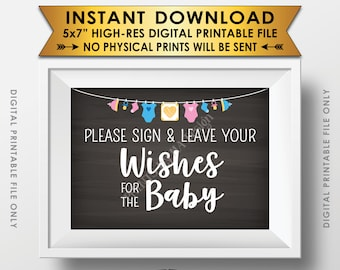 "Wishes for Baby Sign, Please Sign & Leave your Wishes for the Baby Shower Sign, Baby Wishes 5x7"" Chalkboard Style Printable Instant Download"