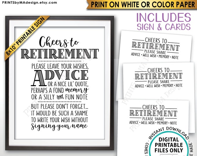 "Retirement Party Decor, Cheers to Retirement Advice Wish Memory Well Wishes, Digital PRINTABLE 8x10"" Sign & 8.5x11"" Sheet of 3"" Cards <ID>"