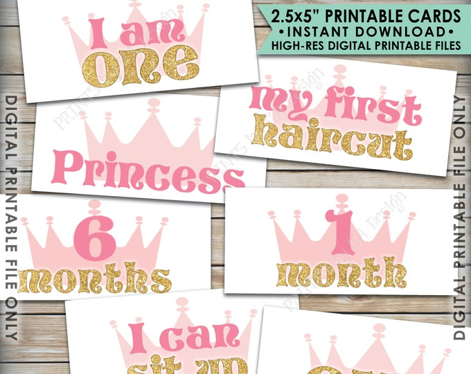 """First Birthday Photo Banner, 1st Birthday Banner Pink & Gold Glitter 1st Year Banner, 2.5x5"""" Cards Printable 8.5x11"""" Sheet, Instant Download"""