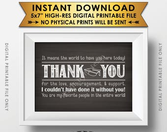 """Thank You Sign, Thank You Card, Graduation Party Decoration, Thanks from the Graduate Sign, 5x7"""" Chalkboard Style Printable Instant Download"""
