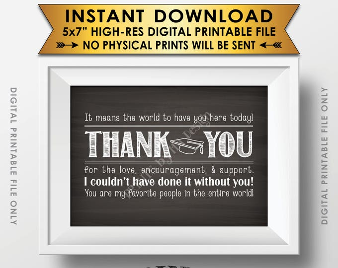 "Thank You Sign, Thank You Card, Graduation Party Decoration, Thanks from the Graduate Sign, 5x7"" Chalkboard Style Printable Instant Download"