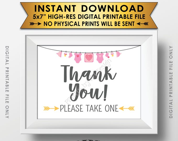 """Thank You Sign, Thank You Please Take One Favors Sign, Baby Shower Favors Sign, Gray Text, Clothesline, 5x7"""" Printable Instant Download Sign"""