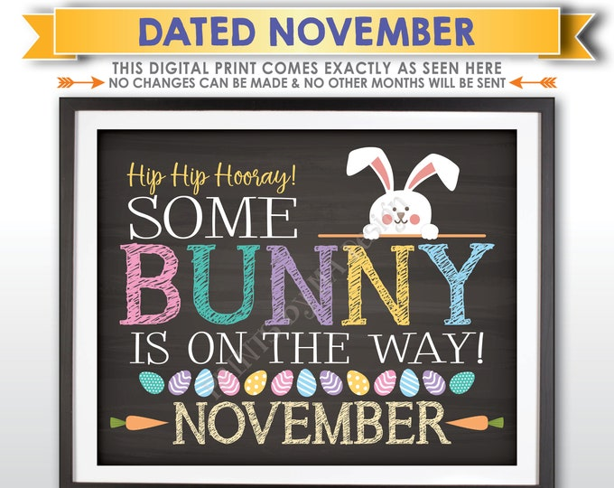 Easter Pregnancy Announcement, Some Bunny is on the Way in NOVEMBER dated PRINTABLE Chalkboard Style Baby Reveal Sign <ID>
