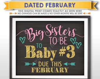 Baby #3 Pregnancy Announcement, Big Sisters to Baby Number 3, Expecting Third in FEBRUARY Dated Chalkboard Style PRINTABLE Reveal Sign <ID>