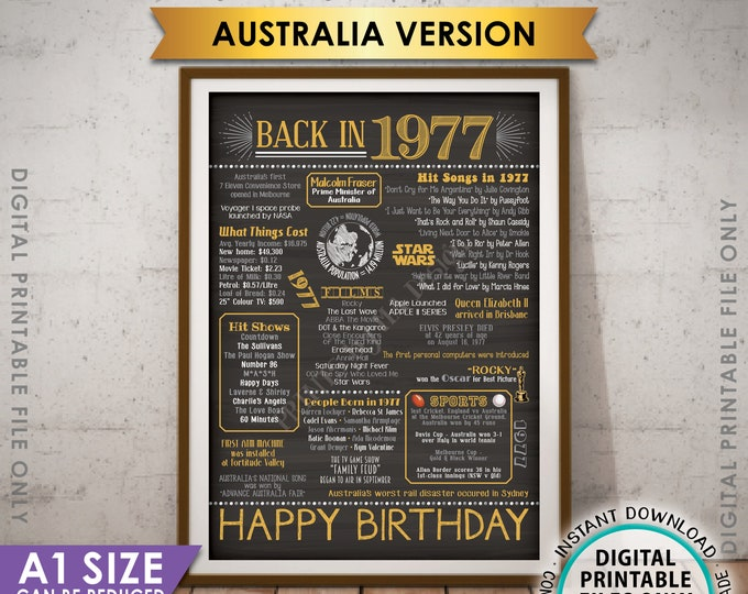 1977 Flashback Poster, AUSTRALIA Back in 1977, Born in 1977 Aussie Birthday Party Decor, Gold, Chalkboard Style PRINTABLE A1 Size Poster