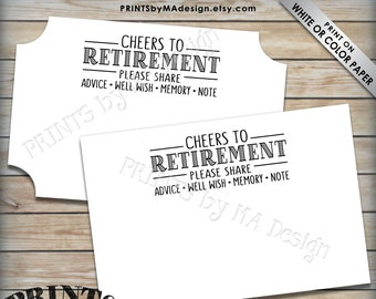 "Retirement Wishes Cards, Cheers to Retirement Party Activity, Memory Advice Well Wishes, PRINTABLE 4x6"" Retirement Card <ID>"