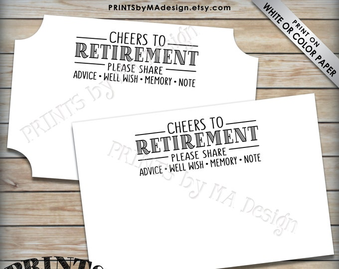 """Retirement Wishes Cards, Cheers to Retirement, Memory, Advice, Well Wishes, Retirement Party Activity, PRINTABLE 4x6"""" Well Wishes Card <ID>"""