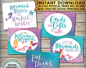 """Mermaid Party Signs, Cards & Gifts Mermaid Birthday Party Bundle, Mermaids Tail, Five PRINTABLE 8x10"""" Watercolor Style Signs <ID>"""
