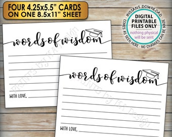 """Words of Wisdom Graduation Party Cards, Grad Advice for the Graduate, Four Cards per PRINTABLE 8.5x11"""" Sheet <ID>"""