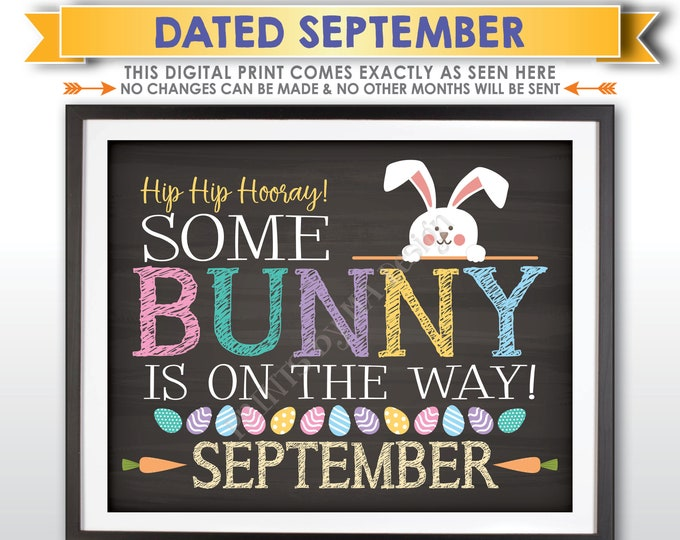 Easter Pregnancy Announcement, Some Bunny is on the Way in SEPTEMBER dated PRINTABLE Chalkboard Style Baby Reveal Sign <ID>